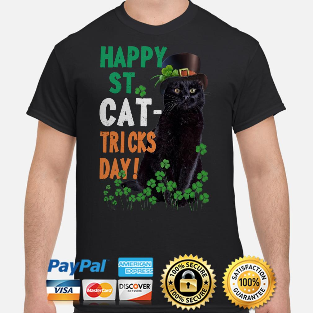 Black cat Happy St Cat-Tricks Day shirt