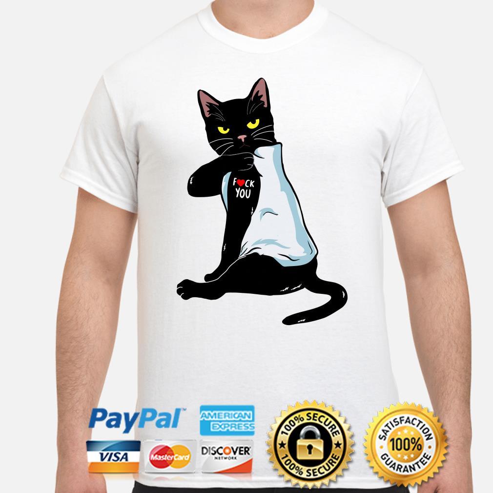Tattoos black cat fuck you shirt