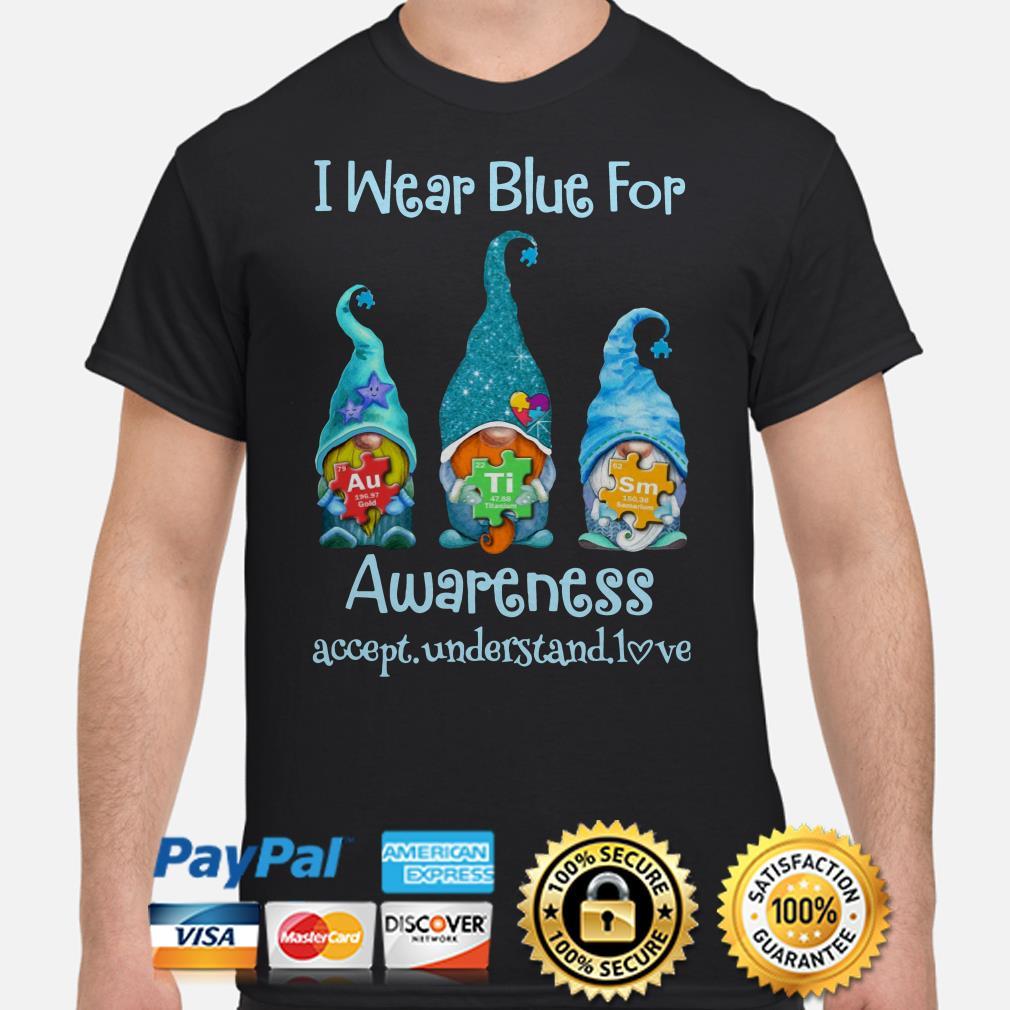 Gnomies we wear blue for Autism awareness shirt