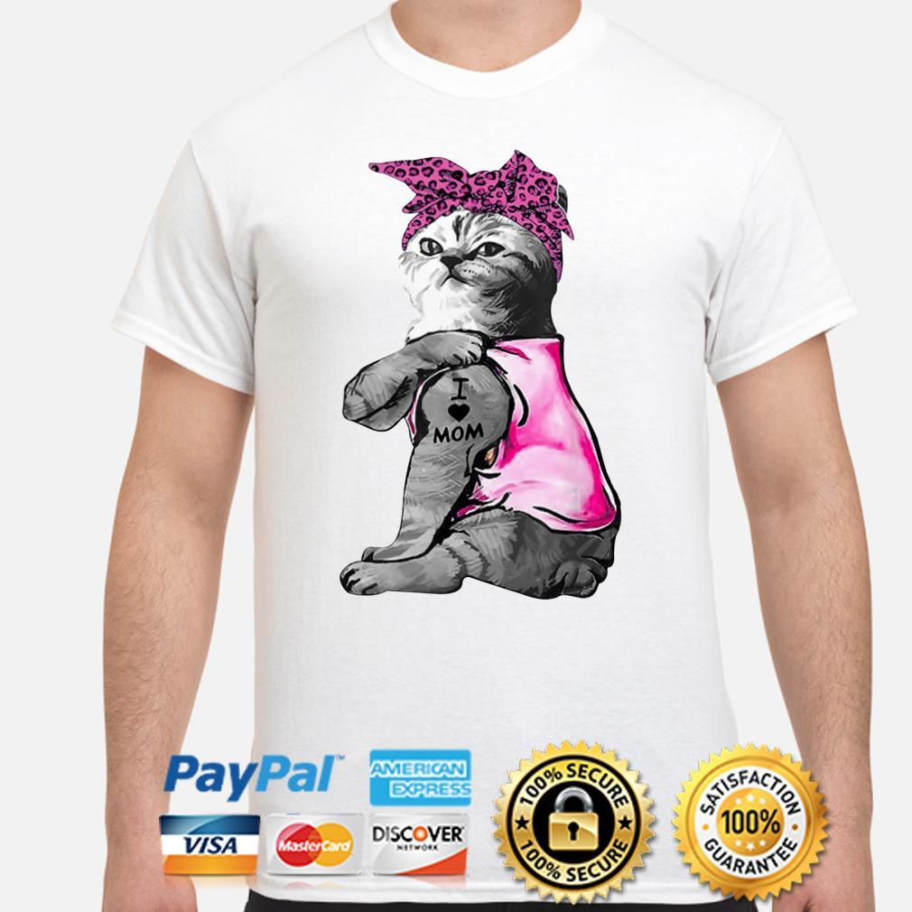 Bandana Tattoos cat I love mom shirt