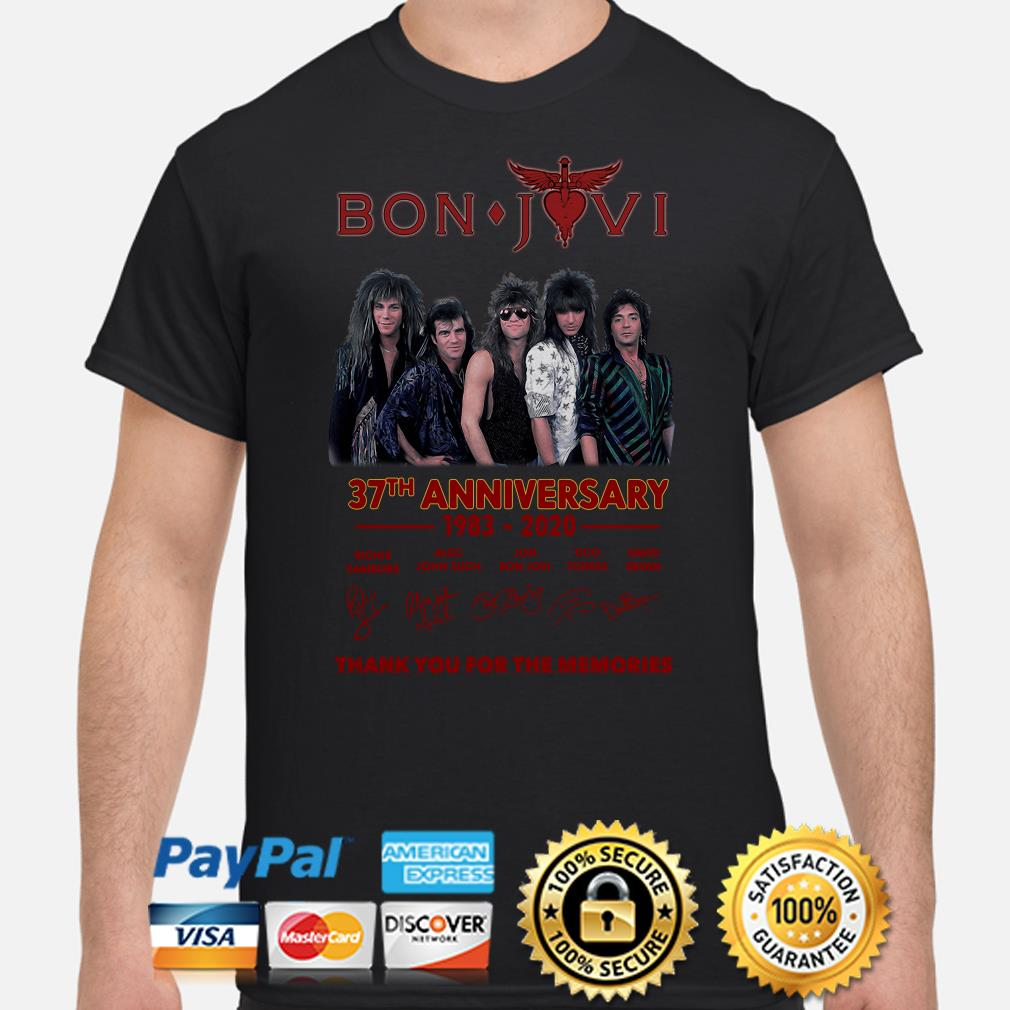 Bon Jovi 37th anniversary thank you for the memories signature shirt