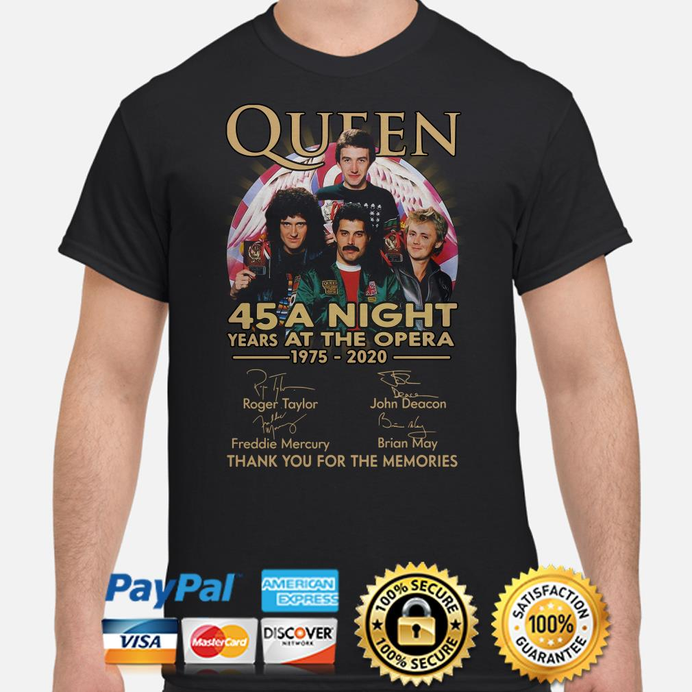 Queen 45 years A Night at the Opera thank you for the memories signature shirt