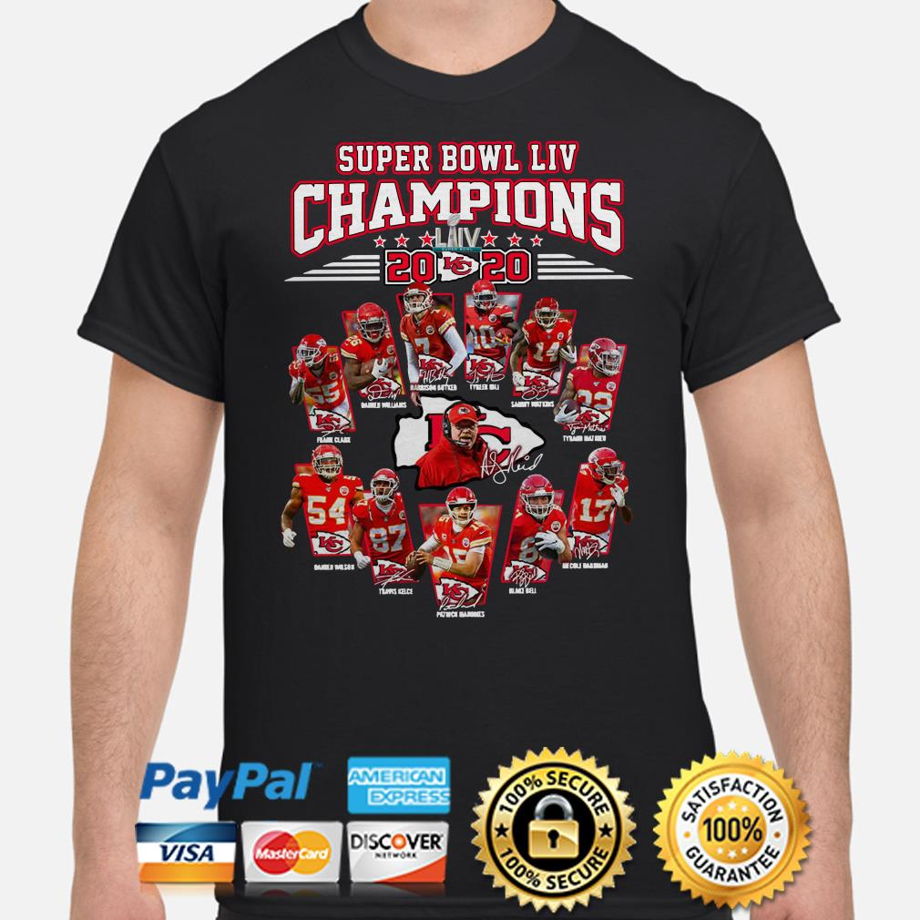 Super Bowl LIV Champions 2020 Kansas City Chiefs signatures shirt