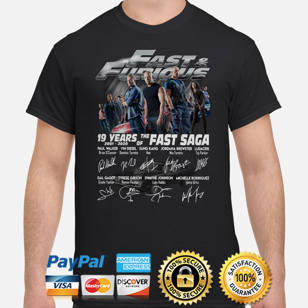 Fast And Furious 19 years of the Fast Saga signatures shirt