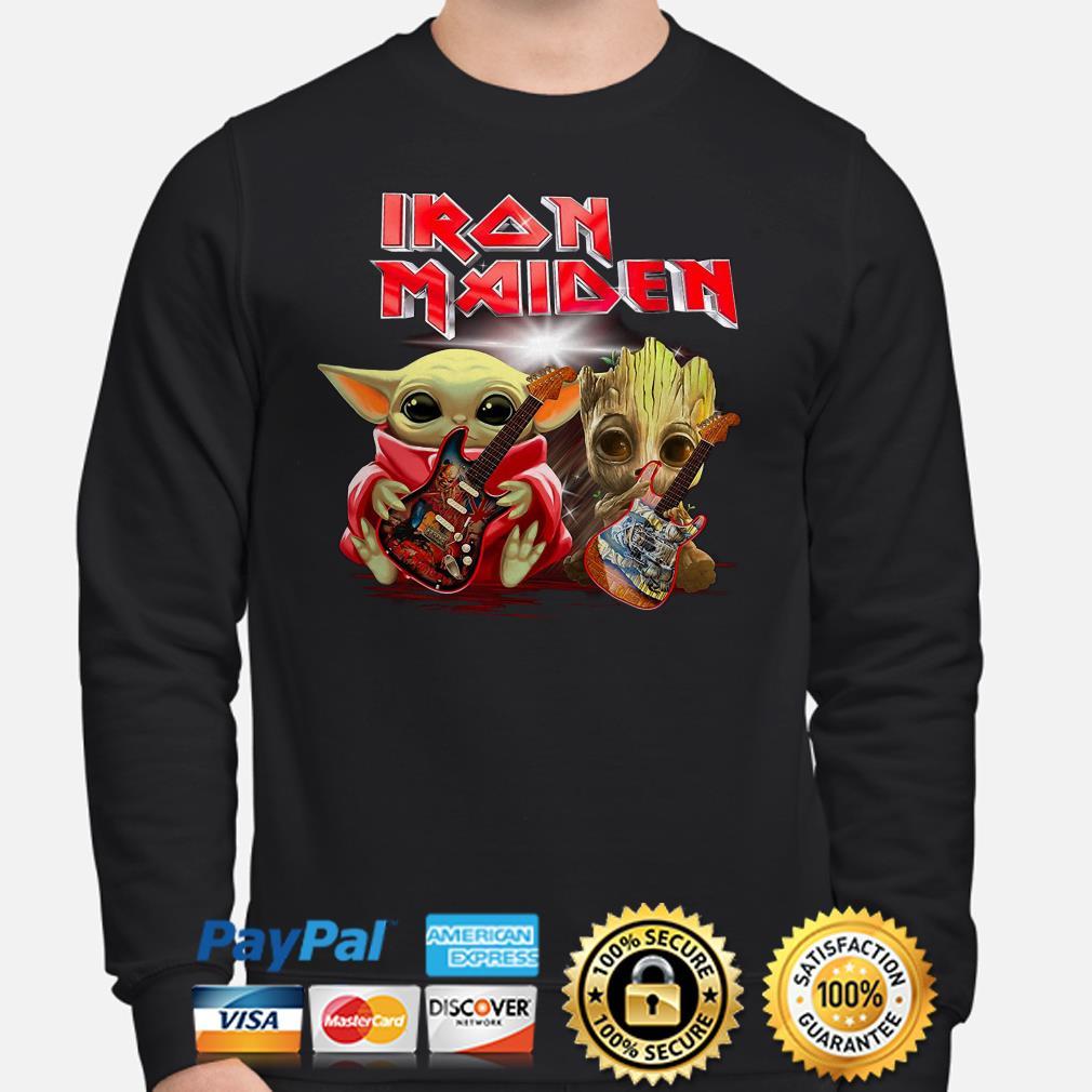 Baby Yoda And Groot Hug Iron Maiden Sweater