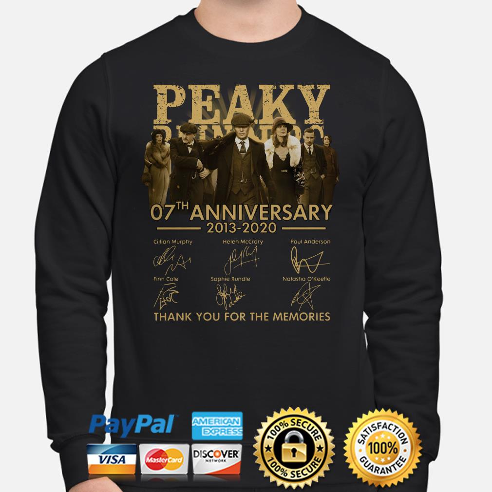 Peaky Blinders 07th Anniversary 2013 2020 Thank You For The Memories Signatures Sweater