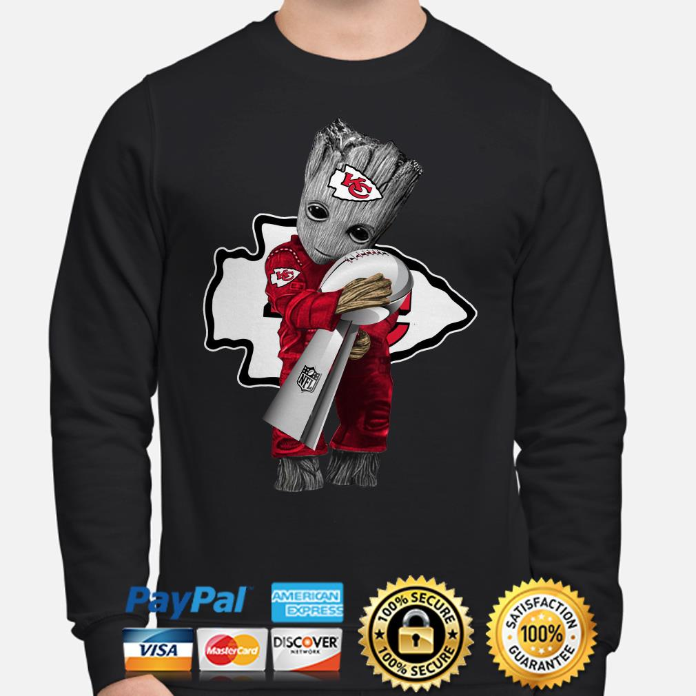 Baby Groot hug Kansas City Chiefs Super Bowl Champions Sweater