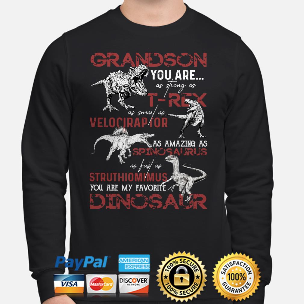 Dinosaurs Grandson you are as strong as T-Rex as smart as Velociraptor Sweater