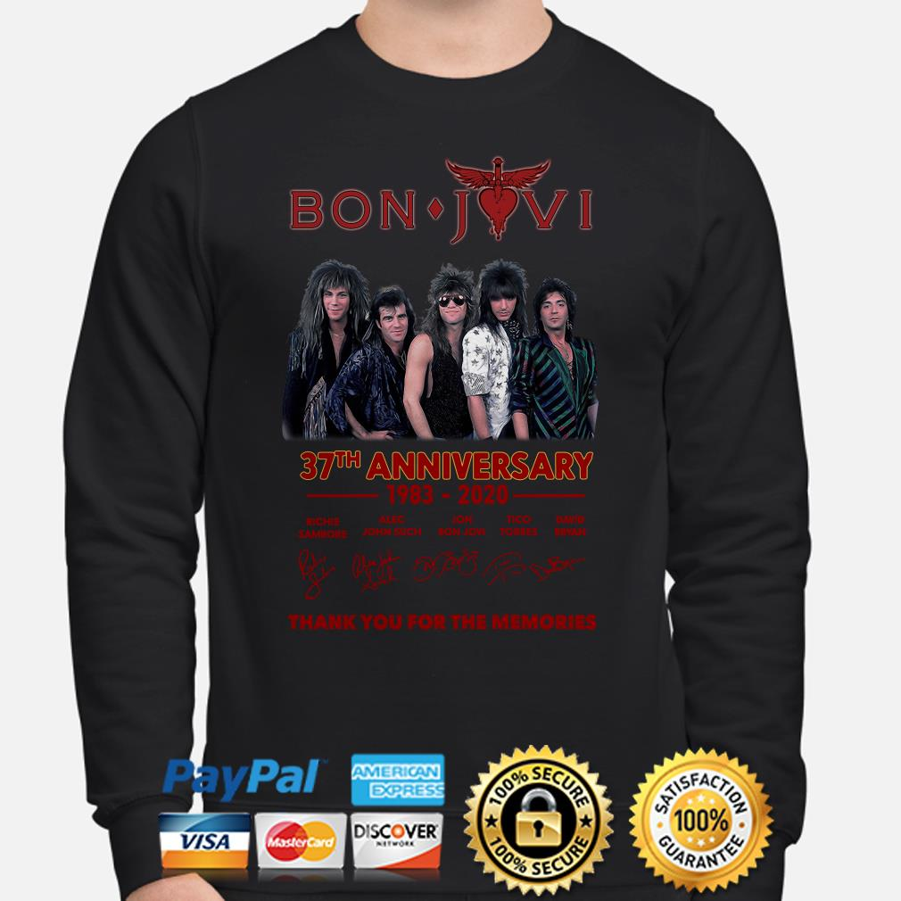 Bon Jovi 37th anniversary thank you for the memories signature Sweater
