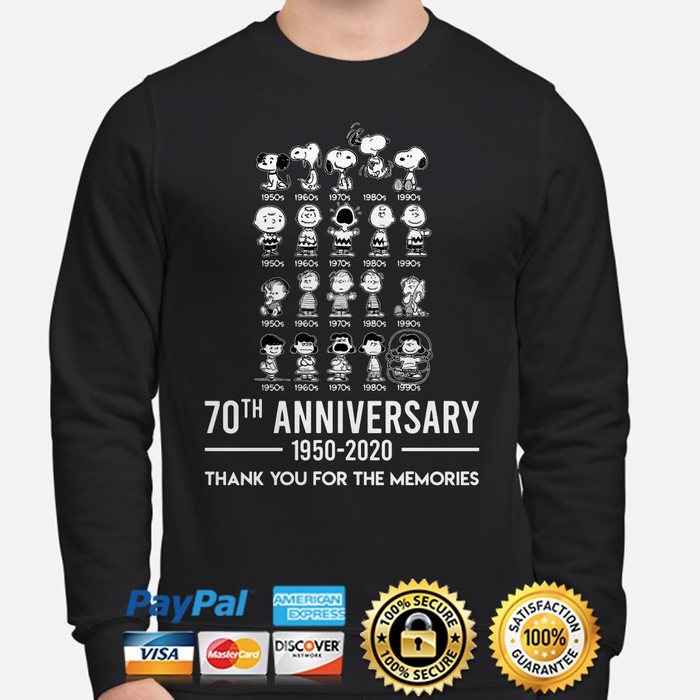 Peanuts all characters 70th anniversary thank you for the memories Sweater
