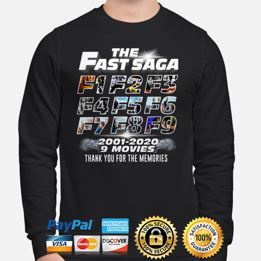 The Fast Saga F1 to F9 2001 2020 9 movies thank you for the memories Sweater