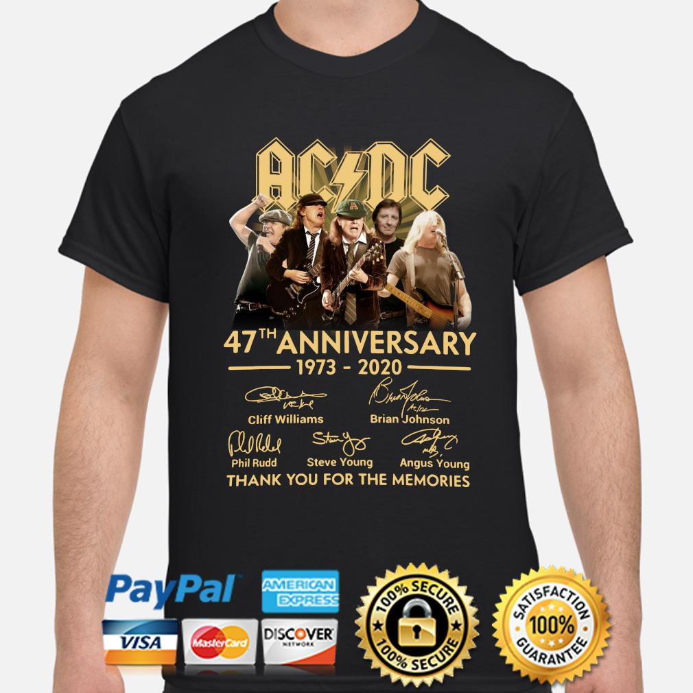 AC DC 47th anniversary thank you for the memories signature s shirt