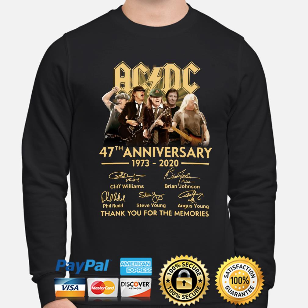 AC DC 47th anniversary thank you for the memories signature s sweater