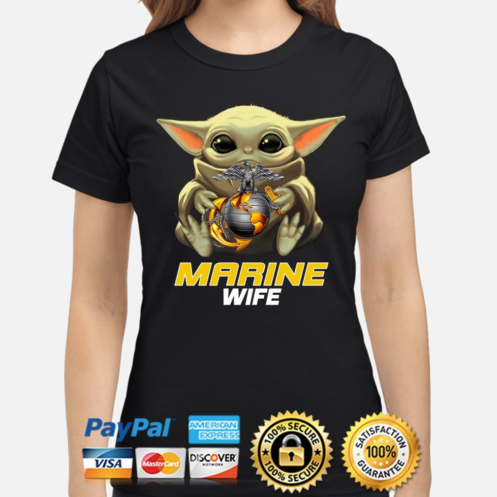 Baby Yoda Hug Marine Wife Shirt