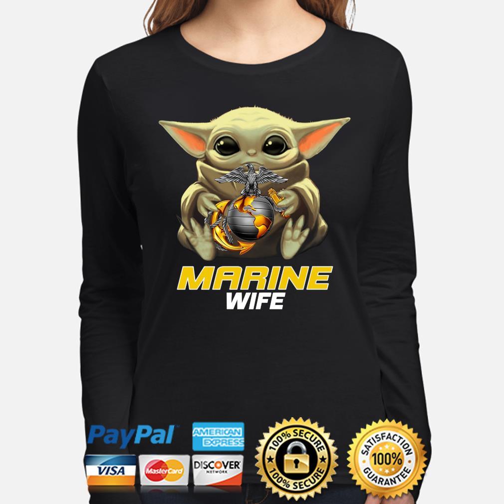 Baby Yoda Hug Marine Wife Shirt long-sleeve