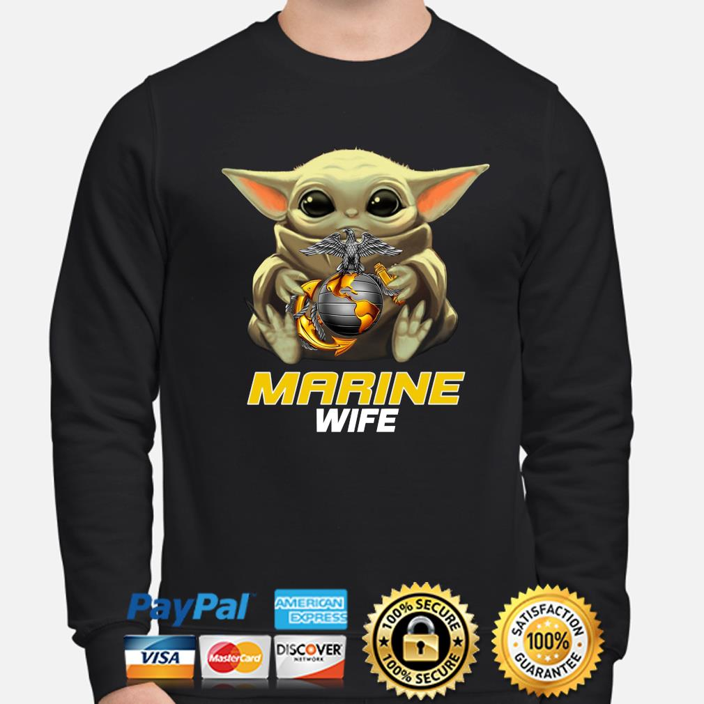 Baby Yoda Hug Marine Wife Shirt sweater