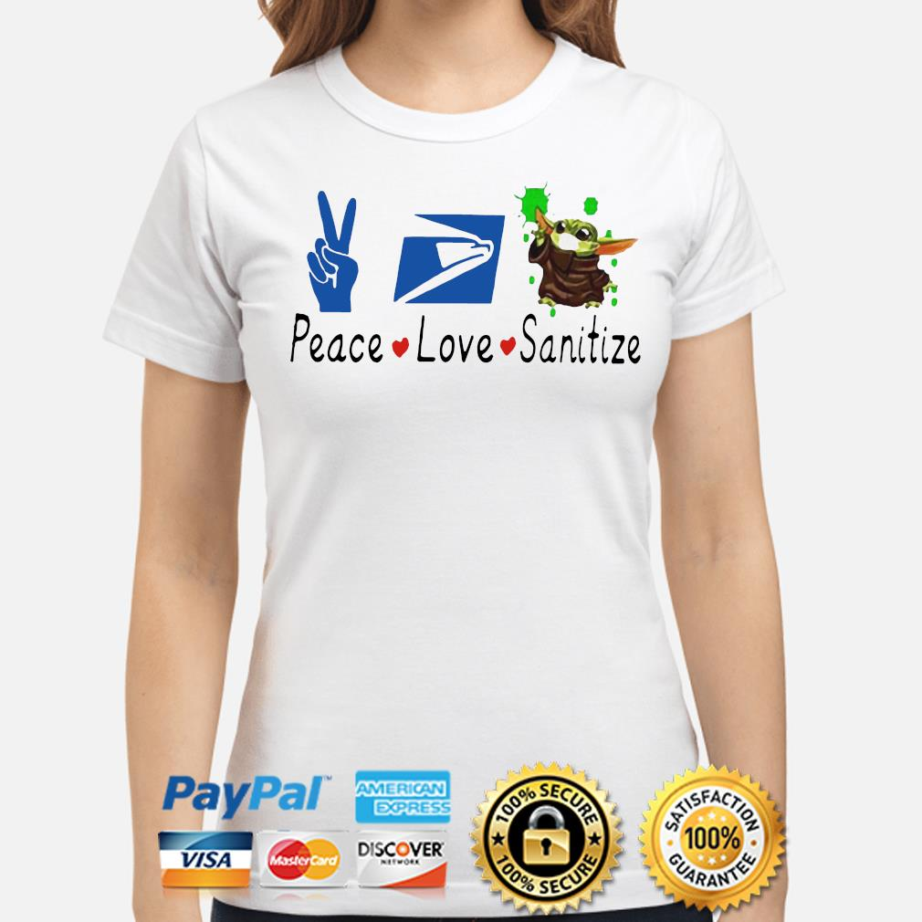 Baby Yoda peace love Sanitize s ladies-shirt