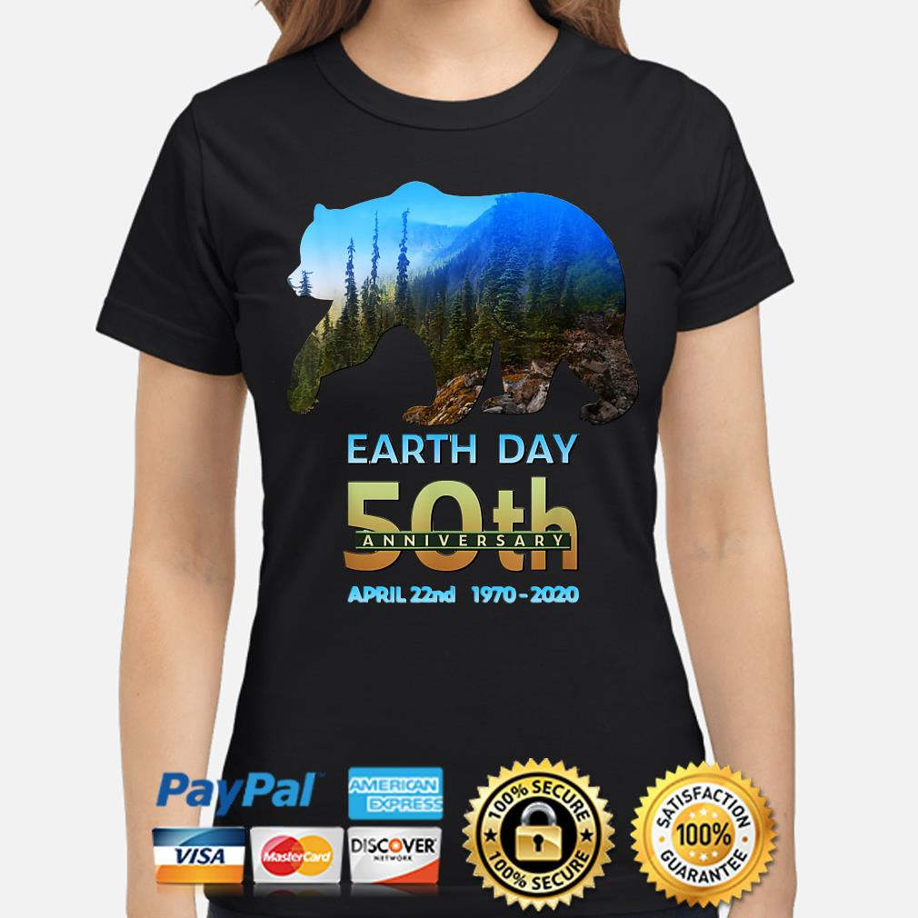 Brown Bear Earth day 50th anniversary April 22nd 2020 s ladies-shirt