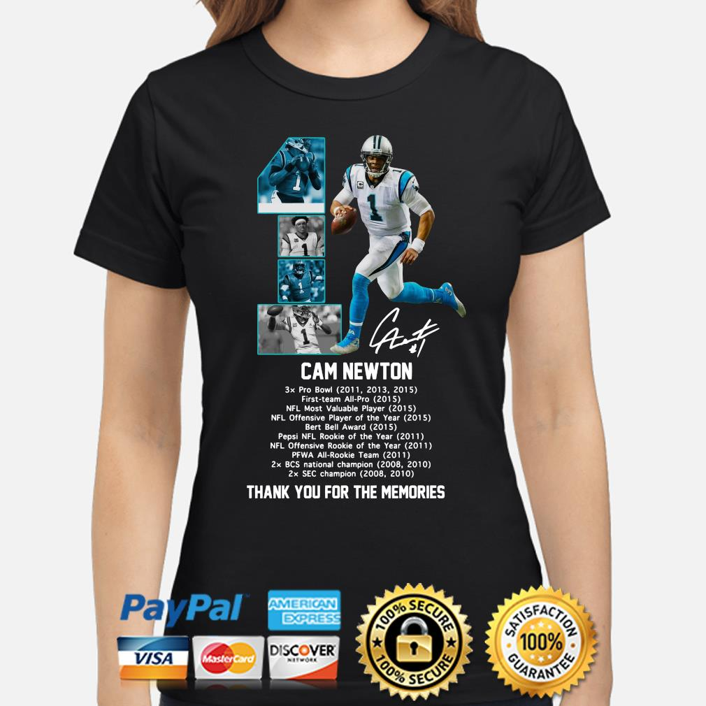 Cam Newton thank you for the memories signature s ladies-shirt