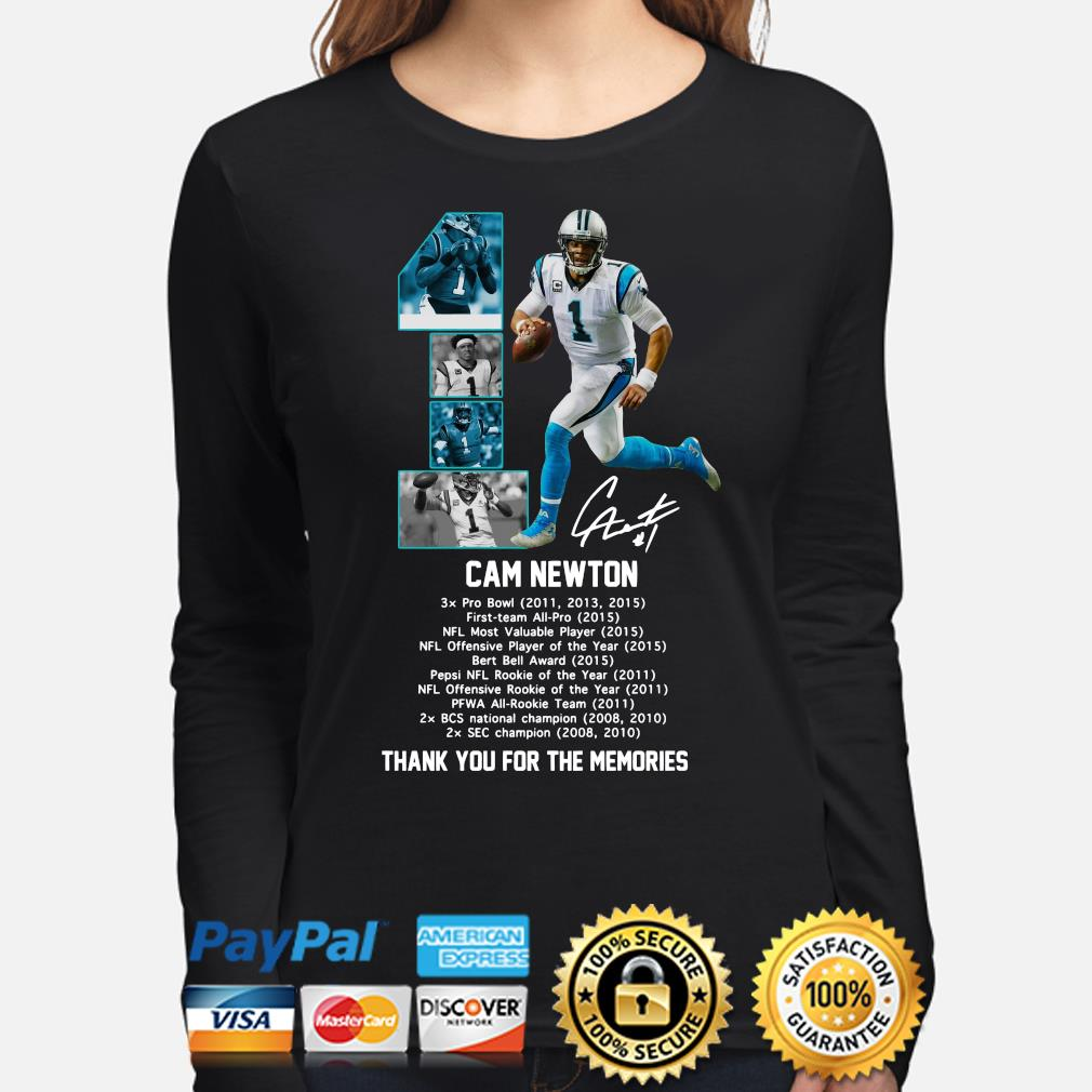 Cam Newton thank you for the memories signature s long-sleeve