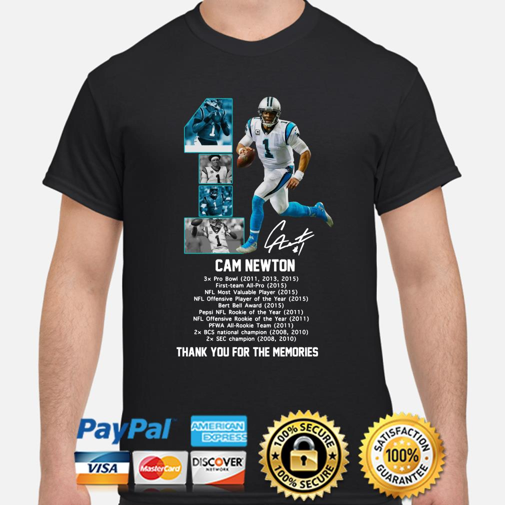 Cam Newton thank you for the memories signature shirt