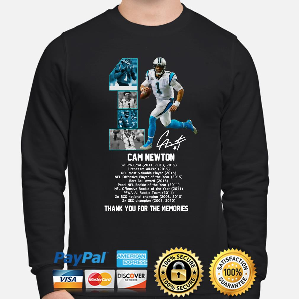 Cam Newton thank you for the memories signature s sweater