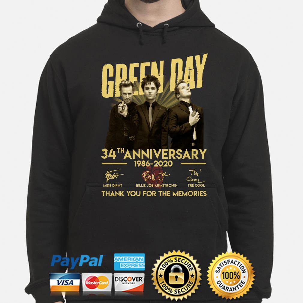 Green Day 34th Anniversary thank you for the memories signature Hoodie
