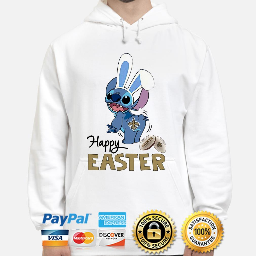 Bunny Stitch New Orlean Saints happy Easter Hoodie