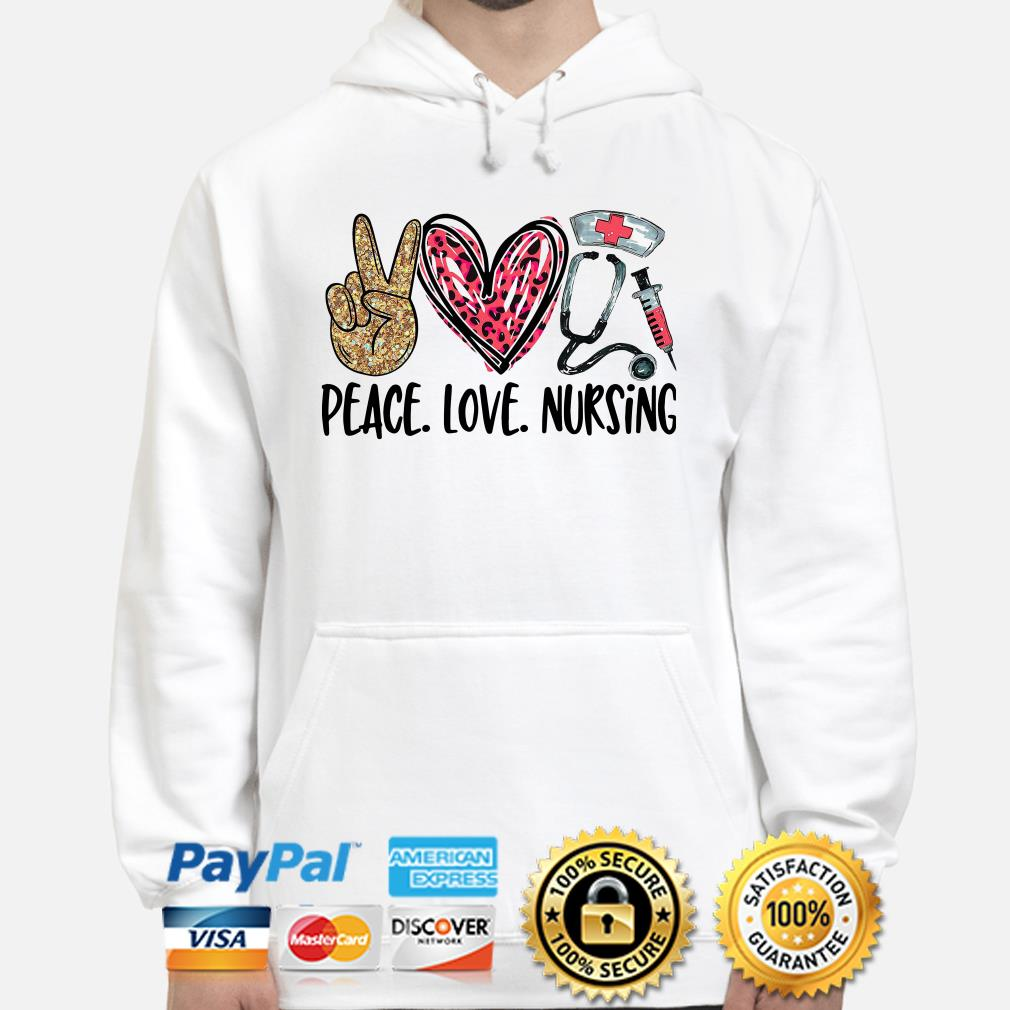 Peace love Nursing Diamonds heart Hoodie