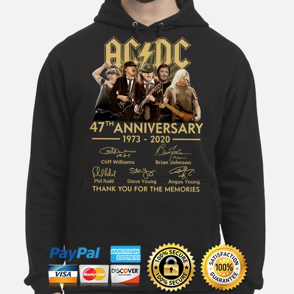 AC DC 47th anniversary thank you for the memories signature Hoodie