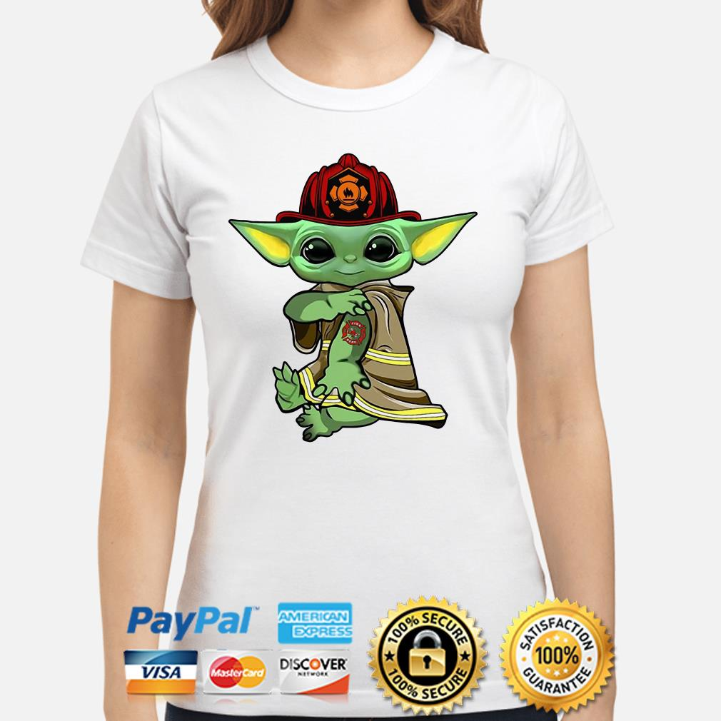Baby Yoda Firefighter Ladies shirt