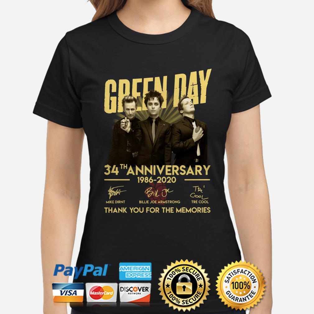 Green Day 34th Anniversary thank you for the memories signature Ladies shirt