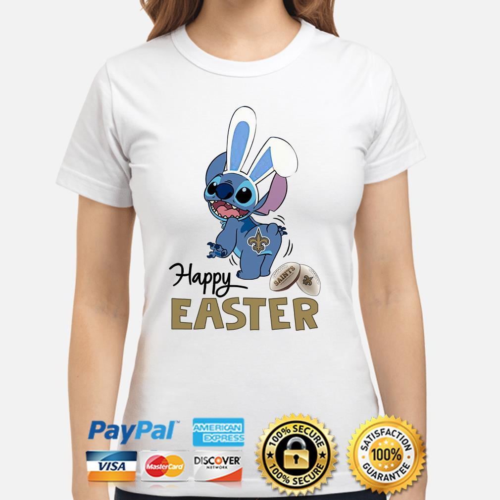 Bunny Stitch New Orlean Saints happy Easter Ladies shirt