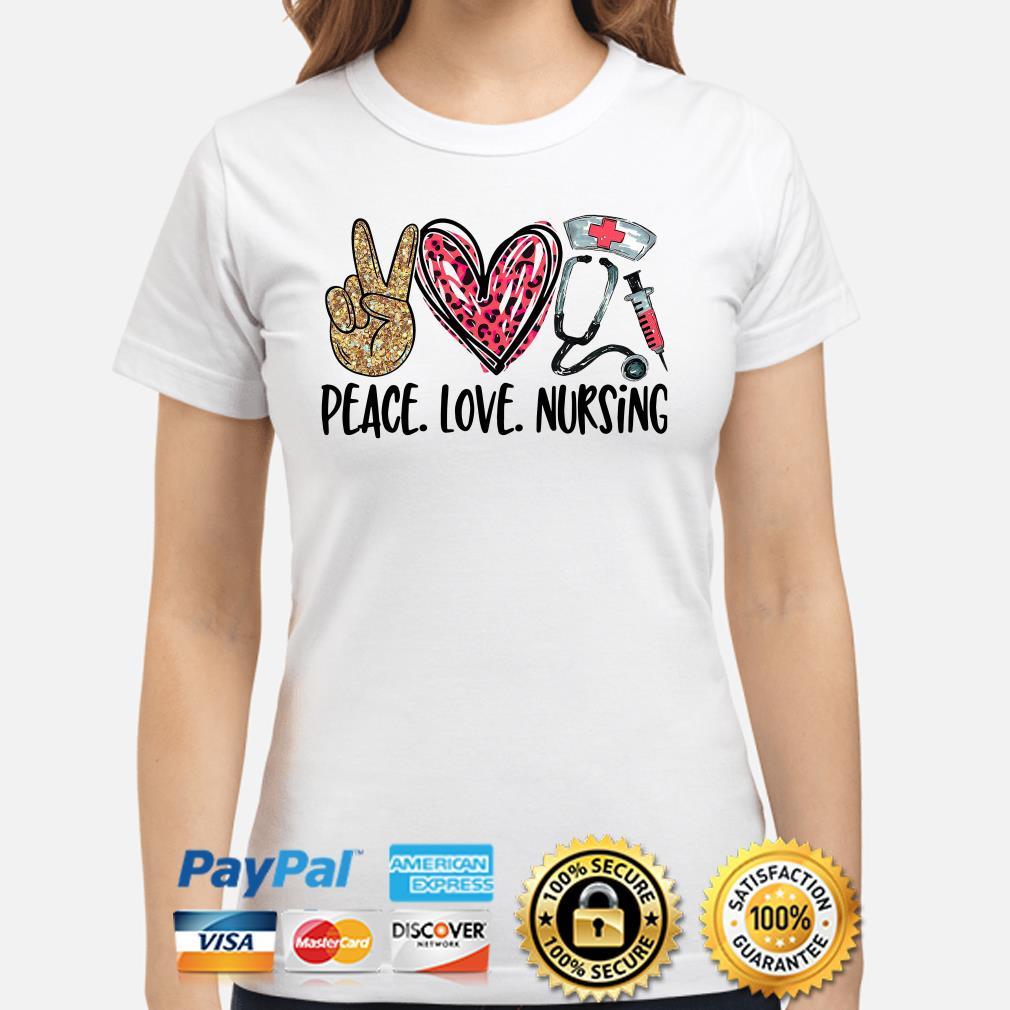 Peace love Nursing Diamonds heart Ladies shirt