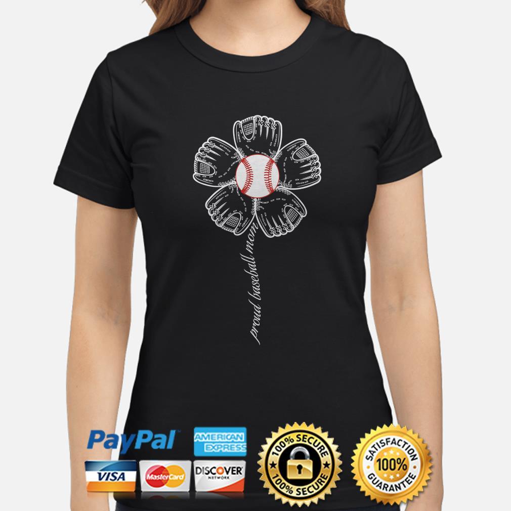 Sunflowers proud baseball mom Ladies shirt