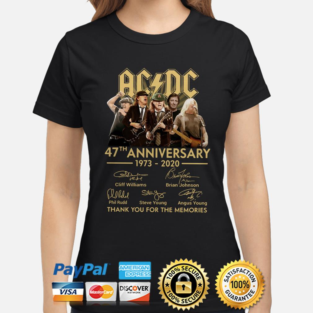 AC DC 47th anniversary thank you for the memories signature Ladies shirt