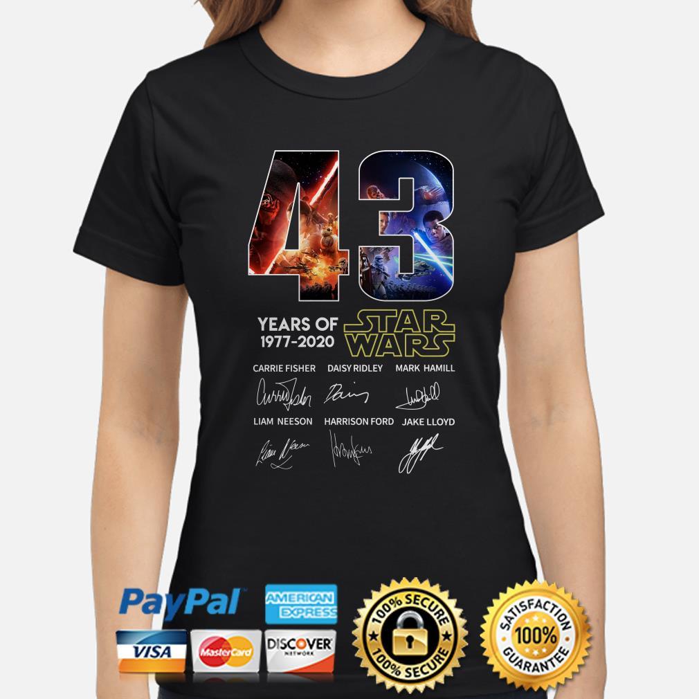43 years of Star Wars characters signature Ladies shirt