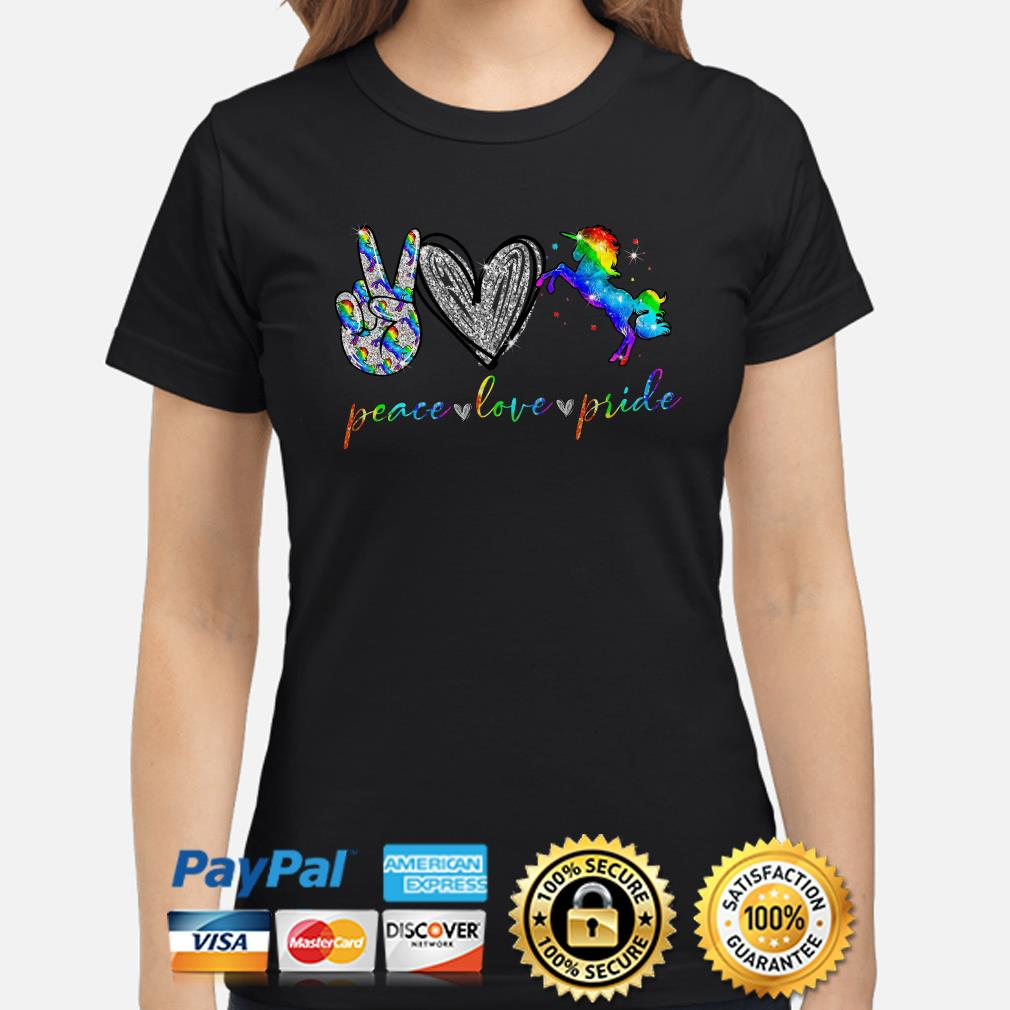 LGBT peace love pricle Heart Diamonds Ladies shirt