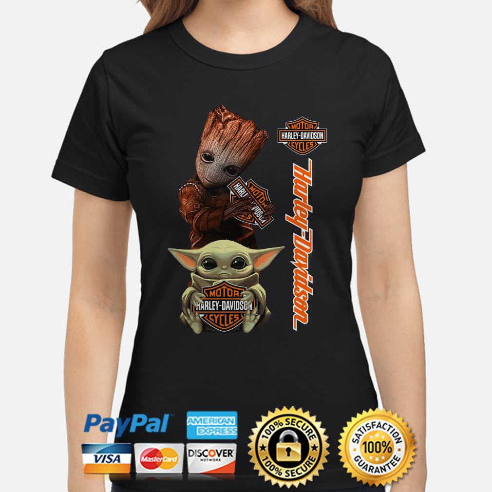 Baby Groot and Baby Yoda hug Motor Harley Davidson Ladies shirt