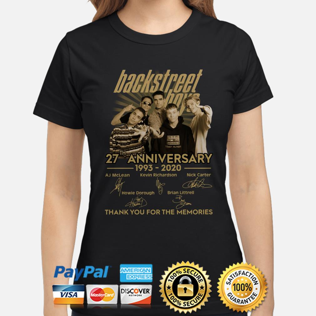 Backstreet Boys 27th anniversary thank you for the memories signature Ladies shirt