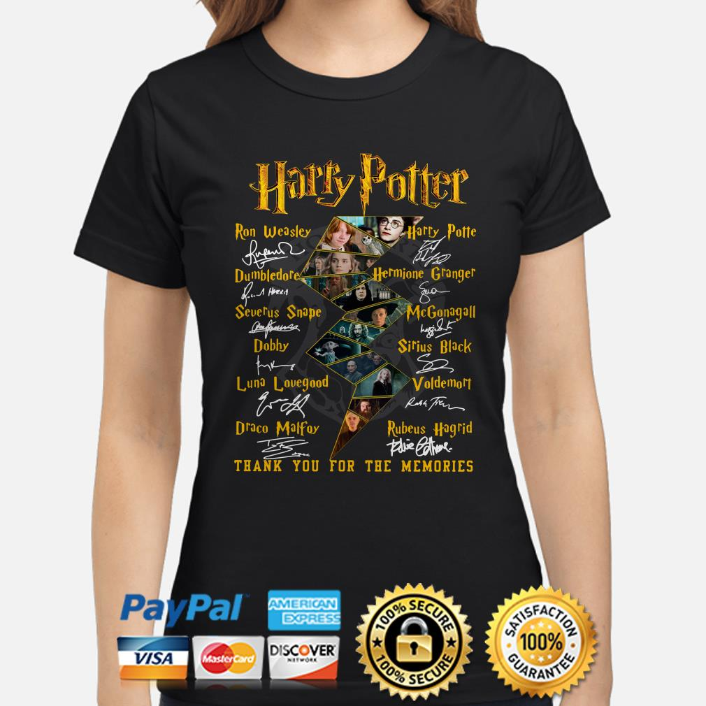 Harry Potter Characters signature thank you for the memories Ladies shirt