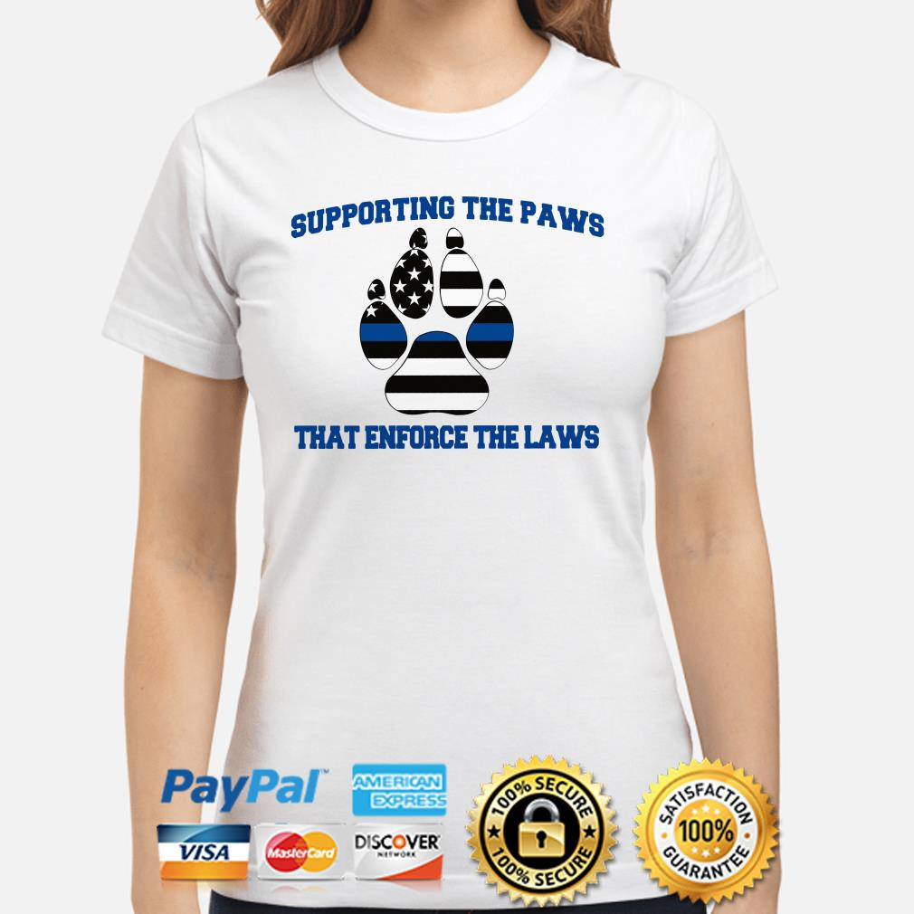 Supporting the Paws that enforce the laws USA flag Ladies shirt