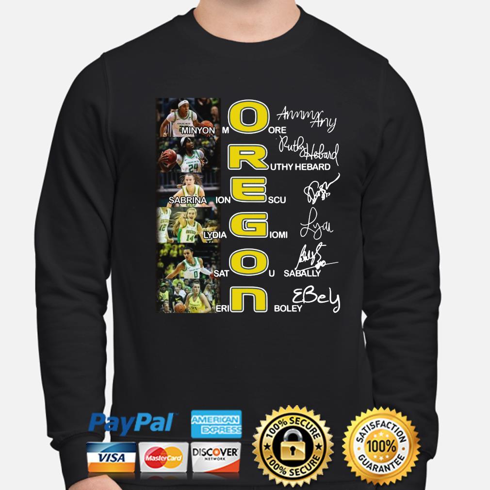 Oregon Minyon More Ruthy Hebard Sabrina Ionescu signature s sweater