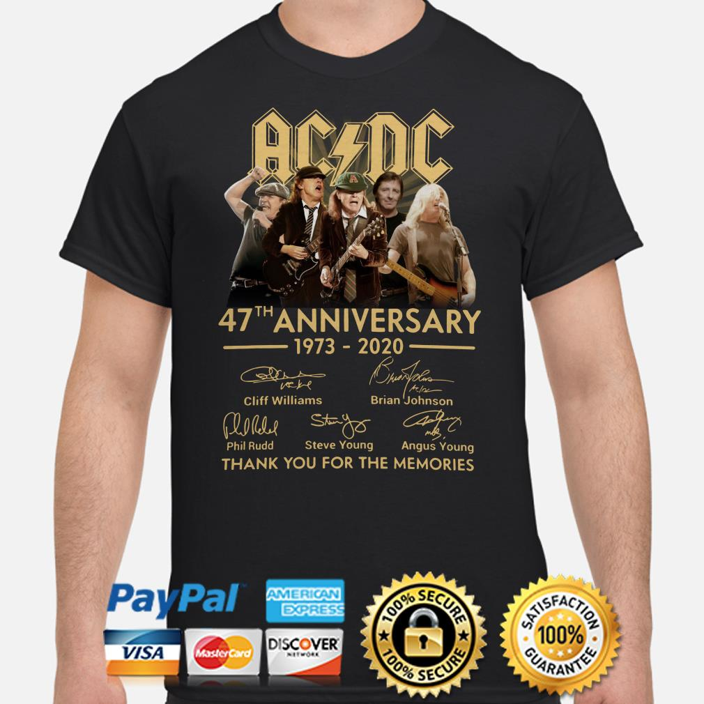 AC DC 47th anniversary thank you for the memories signature shirt