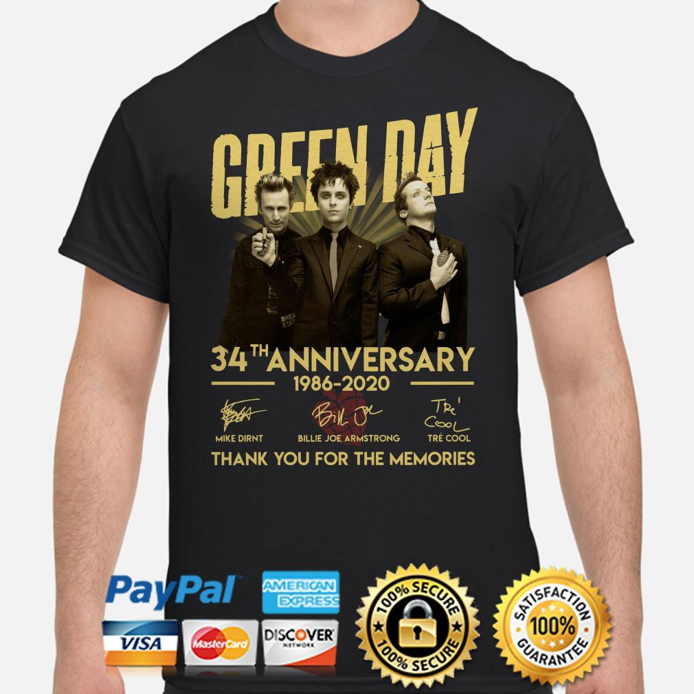 Green Day 34th Anniversary thank you for the memories signature shirt