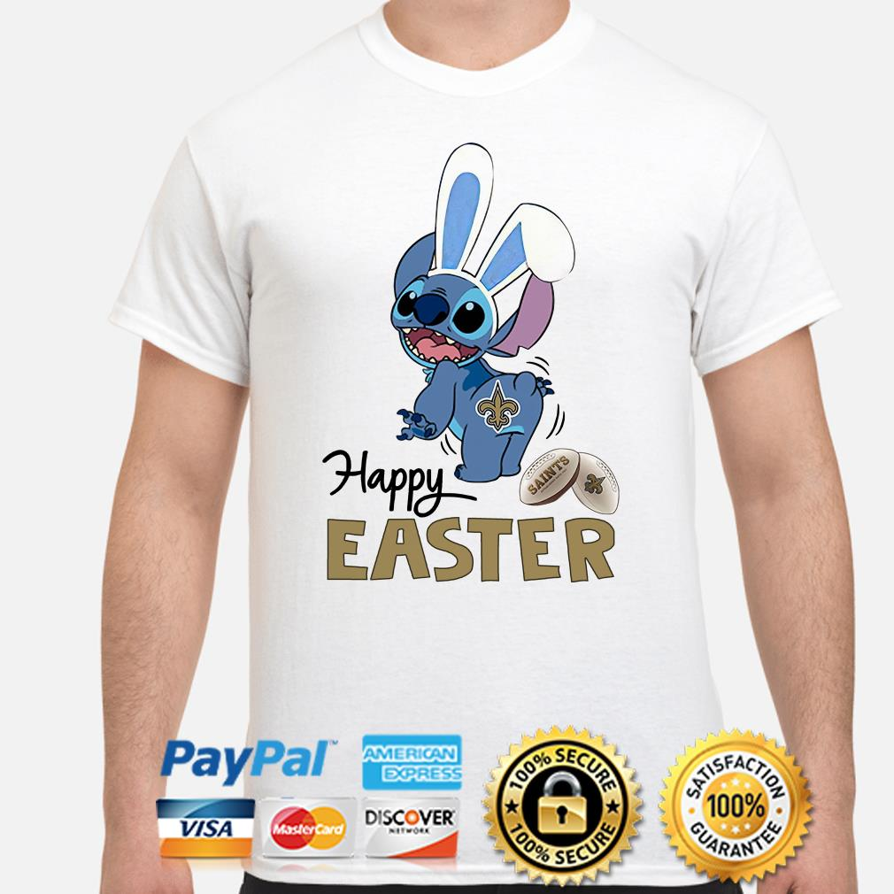 Bunny Stitch New Orlean Saints happy Easter shirt
