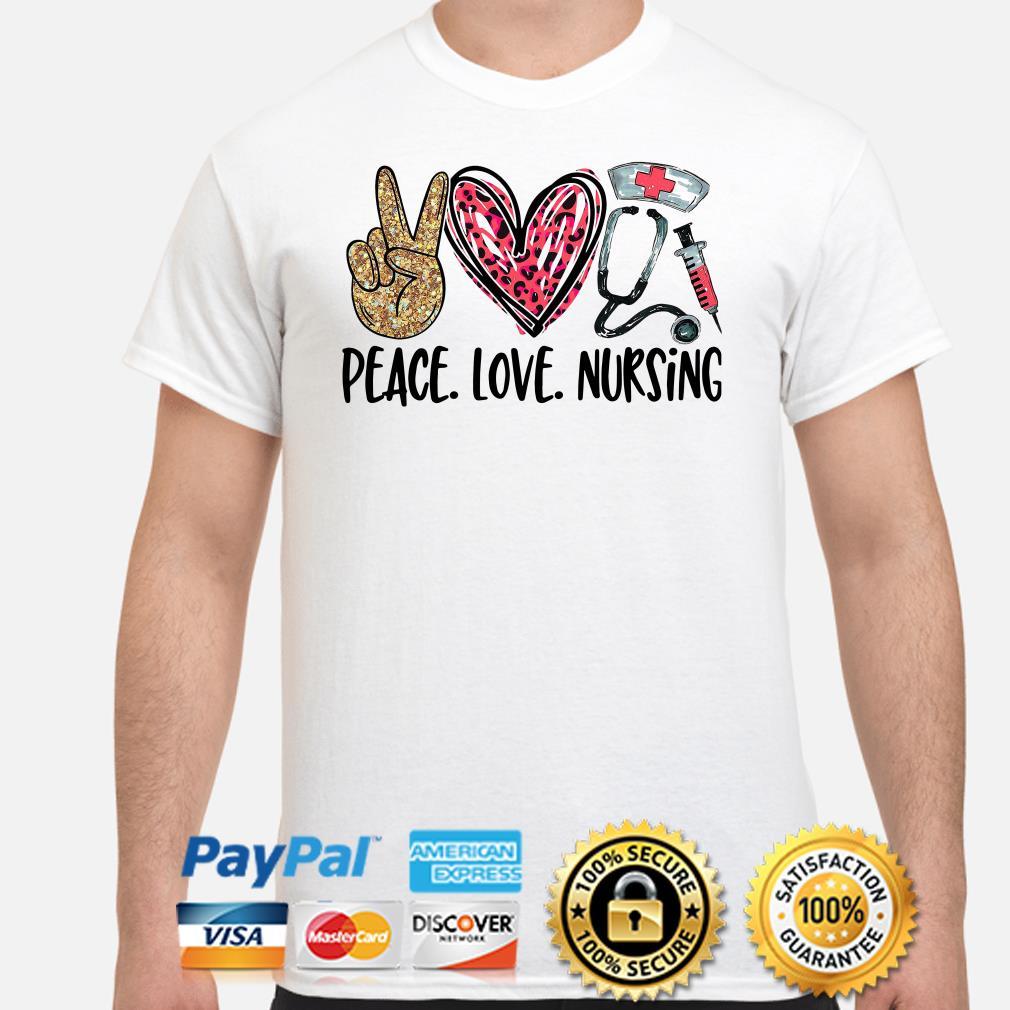 Peace love Nursing Diamonds heart shirt