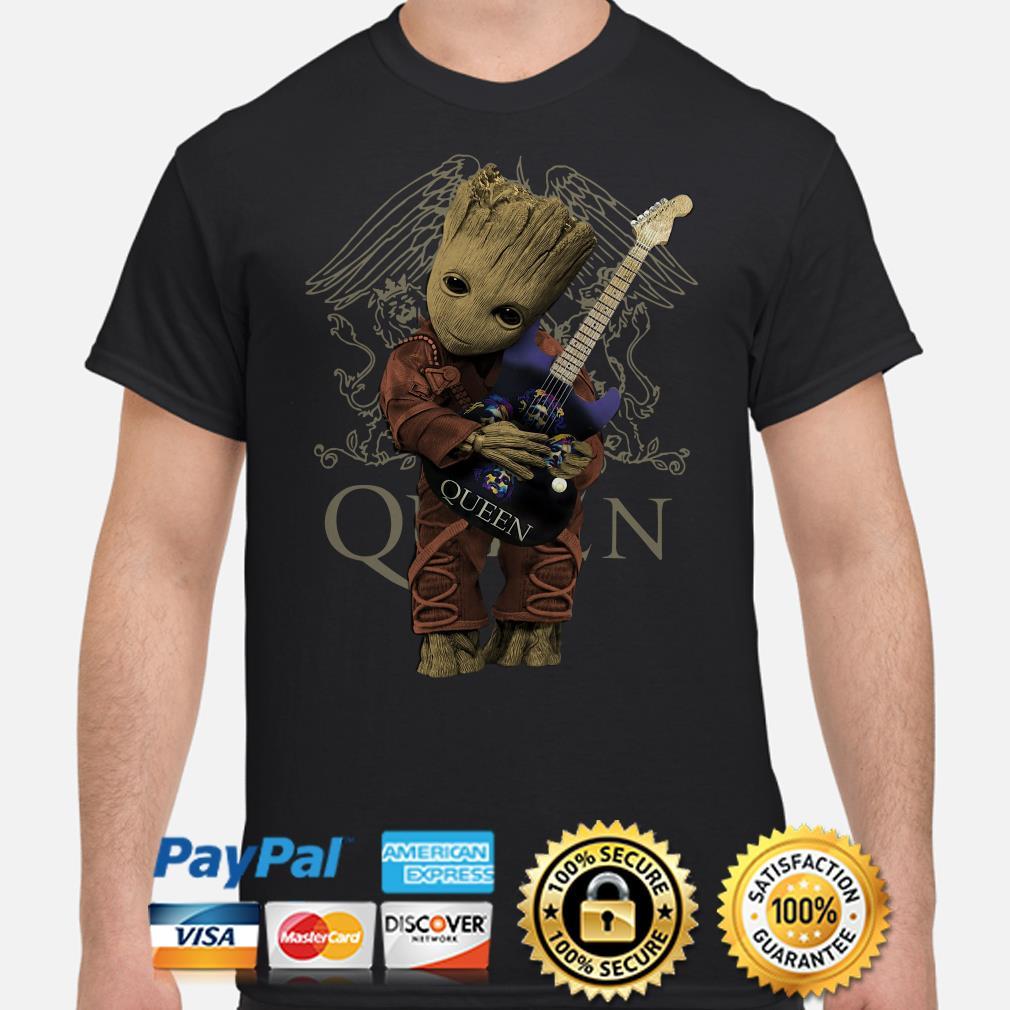 Baby Groot hug Queen guitar shirt