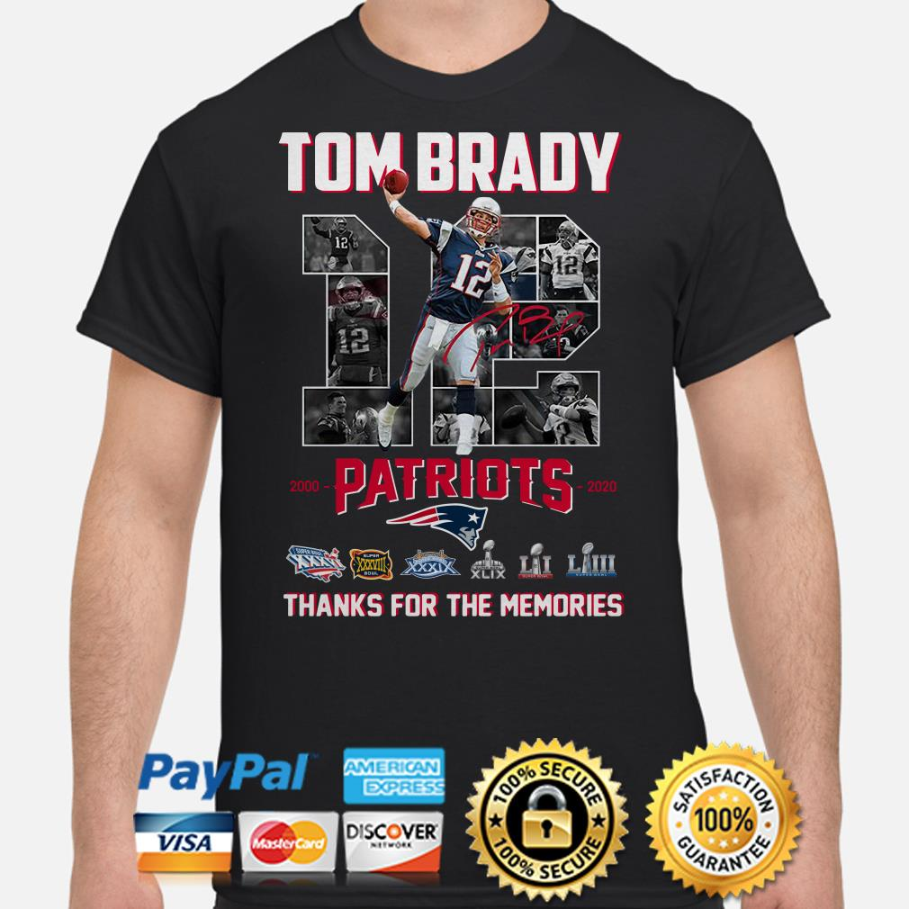 Tom Brady New England Patriots 2000 2020 thank you for the memories shirt