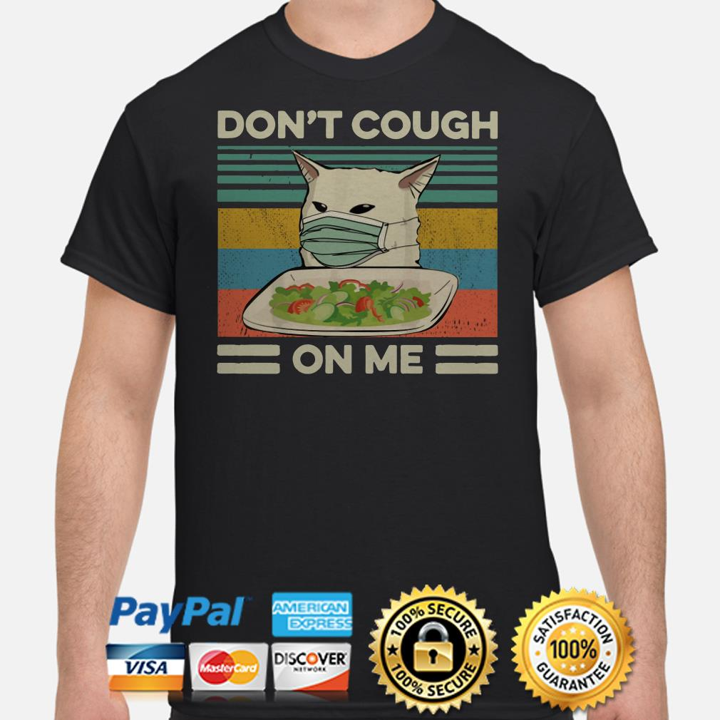 Confused cat at dinner don't cough on me vintage shirt